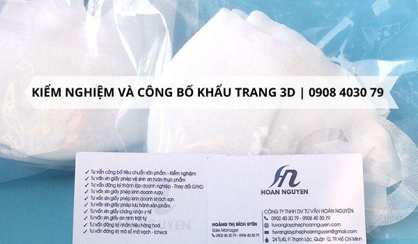 Kiểm nghiệm và công bố chất lượng khẩu trang 3D NHANH