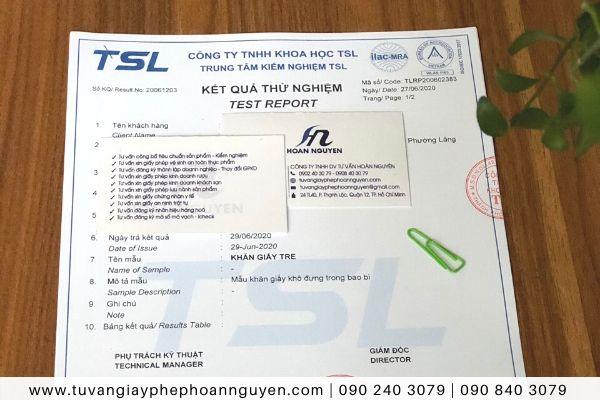 Phiếu kết quả kiểm nghiệm khăn giấy tre HOÀN NGUYÊN thực hiện