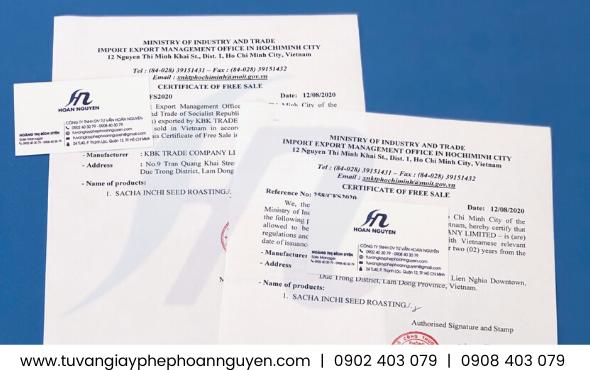 Mẫu giấy chứng nhận lưu hành tự do sản phẩm xuất khẩu