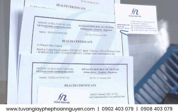 Mẫu giấy chứng nhận y tế thực phẩm xuất khẩu