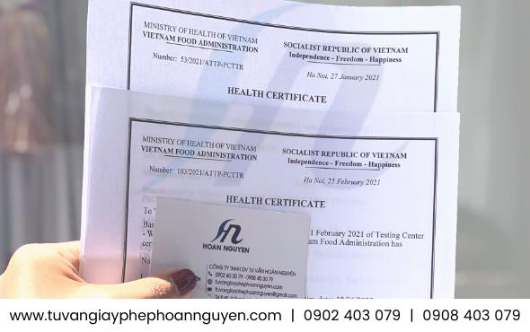 Health Certificate giấy chứng nhận y tế sản phẩm xuất khẩu